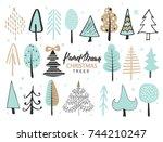 set of hand drawn christmas... | Shutterstock .eps vector #744210247