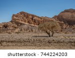 desert in the middle east. the... | Shutterstock . vector #744224203