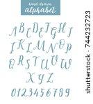 script font alphabet written... | Shutterstock .eps vector #744232723