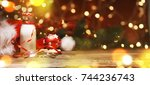 christmas and new year holiday... | Shutterstock . vector #744236743