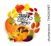 thanksgiving greeting card with ... | Shutterstock .eps vector #744241987