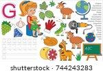 letter g. dot to dot...   Shutterstock .eps vector #744243283
