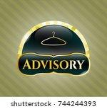 gold shiny badge with hanger... | Shutterstock .eps vector #744244393