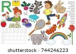 letter r. dot to dot... | Shutterstock .eps vector #744246223