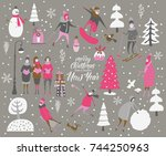 merry christmas and happy new... | Shutterstock .eps vector #744250963