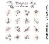 hand drawn doodle tropics set....   Shutterstock .eps vector #744250993