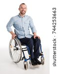 smiling disabled man in... | Shutterstock . vector #744253663