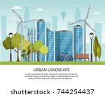 ecology energy background... | Shutterstock .eps vector #744254437