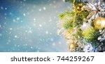 christmas ornament on wooden... | Shutterstock . vector #744259267