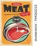 fresh meat promotional retro... | Shutterstock .eps vector #744262213