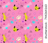dog new year seamless pattern... | Shutterstock .eps vector #744264163