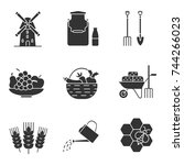 agriculture glyph icons set....   Shutterstock .eps vector #744266023