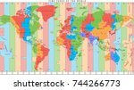 vector detailed world map with... | Shutterstock .eps vector #744266773