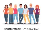 group of happy people in casual ... | Shutterstock .eps vector #744269167