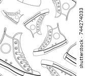 vector black and white sneakers ...   Shutterstock .eps vector #744274033