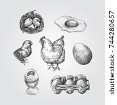 hand drawn eggs sketches set.... | Shutterstock .eps vector #744280657