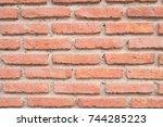 old vintage brick wall grunge... | Shutterstock . vector #744285223