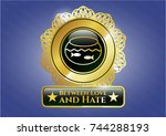 gold shiny badge with fishbowl ... | Shutterstock .eps vector #744288193