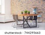 modern room interior with...   Shutterstock . vector #744295663