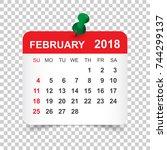 february 2018 calendar.... | Shutterstock .eps vector #744299137