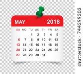 may 2018 calendar. calendar... | Shutterstock .eps vector #744299203