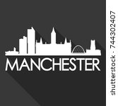 manchester flat icon skyline... | Shutterstock .eps vector #744302407