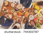 people eat healthy meals at...   Shutterstock . vector #744303787