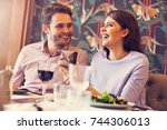 romantic couple dating in... | Shutterstock . vector #744306013