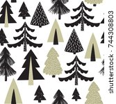 vector seamless pattern with... | Shutterstock .eps vector #744308803