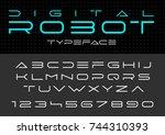 futuristic vector font design.... | Shutterstock .eps vector #744310393