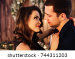 close up of beautiful couple... | Shutterstock . vector #744311203