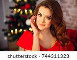 beautiful elegant lady posing... | Shutterstock . vector #744311323