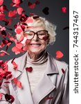 beautiful senior lady with... | Shutterstock . vector #744317467
