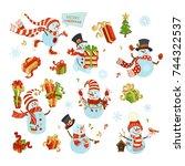 vector set of cute snowmen.... | Shutterstock .eps vector #744322537