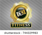 golden emblem with money ... | Shutterstock .eps vector #744329983