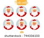 christmas santa set. santa... | Shutterstock .eps vector #744336103