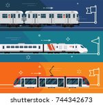 set of railway transport... | Shutterstock .eps vector #744342673
