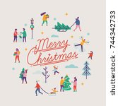 merry christmas vector... | Shutterstock .eps vector #744342733