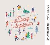 merry christmas vector... | Shutterstock .eps vector #744342733