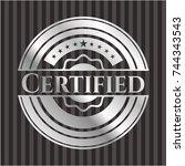 certified silver emblem or badge | Shutterstock .eps vector #744343543