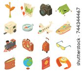 travel journey icons set.... | Shutterstock .eps vector #744344467