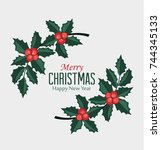 christmas vector illustration... | Shutterstock .eps vector #744345133