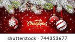 christmas card with red balls... | Shutterstock .eps vector #744353677