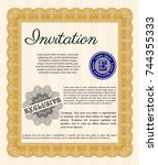 orange retro vintage invitation.... | Shutterstock .eps vector #744355333