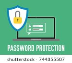 password protection. laptop... | Shutterstock .eps vector #744355507