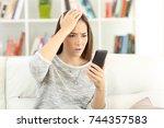 portrait of a worried woman...   Shutterstock . vector #744357583