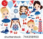 vector set with cute little... | Shutterstock .eps vector #744358903
