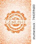 genuine orange mosaic emblem | Shutterstock .eps vector #744359683