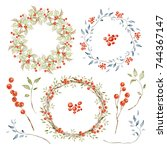 holiday wreaths and elements... | Shutterstock . vector #744367147