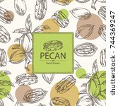 seamless pattern with pecan ... | Shutterstock .eps vector #744369247